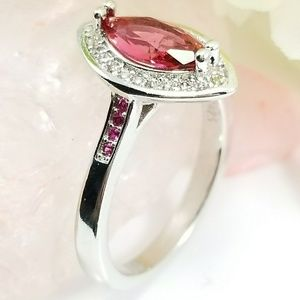 Sterling Silver Marquise Cut Pink Sapphire Ring